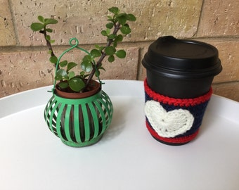 Heart cup cozy,Valentines gift, crochet cup cozy, tea cup cozy, coffee cup sleeve, Birthday gift