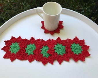 Red coasters,Flower coasters, valentines gift, stocking stuffers,drink coasters, home decor, colourful coasters, set of 6, small doilies