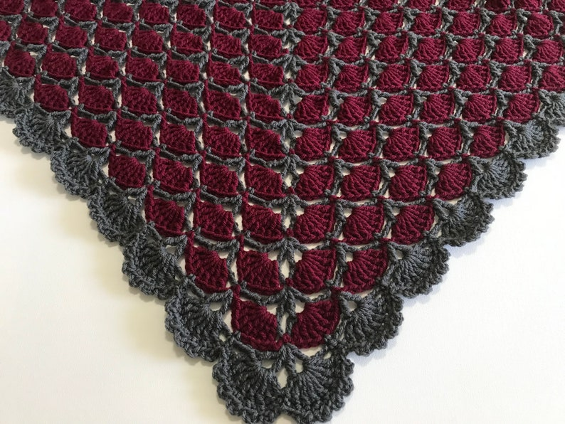 Christmas gift Mother\u2019s Day gift home decor Unique lap afghan Crochet burgundy and gray throw