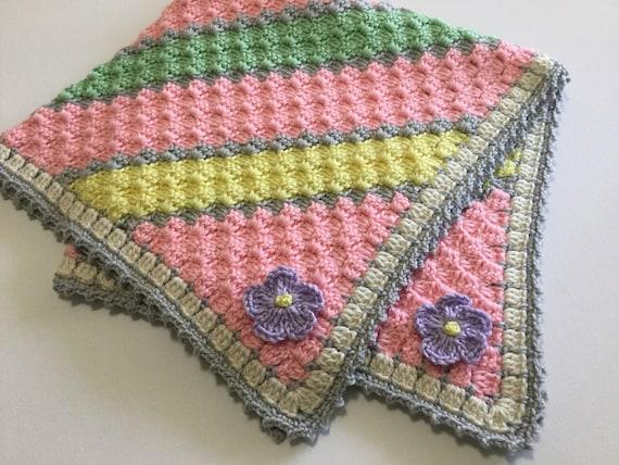 Rosa Gelb Grün Grau Häkeln Baby Decke C2c Häkeln Etsy