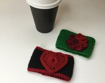 Heart cup cozy, flower cup cozy, valentines gift, coffee cup cozy, tea cup cozy, coffee cup sleeve, Xmas gifts, set of 2