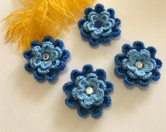 Crochet blue flowers, blue flowers, flower appliqué, embellishments, set of four flowers