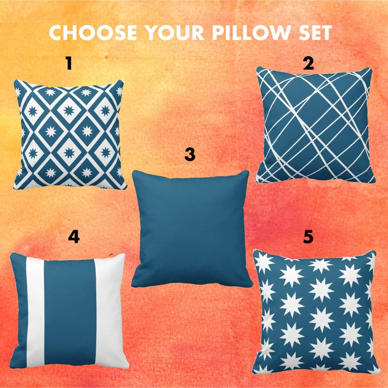 Peacock Blue Nine Point Star Pillow Set Indoor Household or image 0
