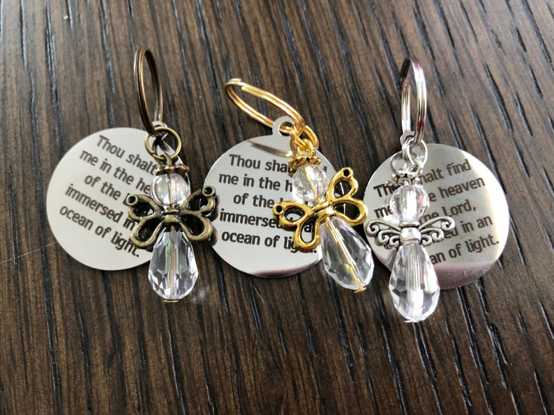 Baha'i quote and angel keychain for infant loss image 0