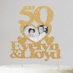 50th Anniversary Cake Topper, Custom Anniversary Cake Topper, Anniversary Photo Cake Topper