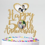 50th Anniversary Personalized Photo Cake Topper, Golden Anniversary, Anniversary Gift For Parents, Anniversary Cake Topper, Any Anniversary