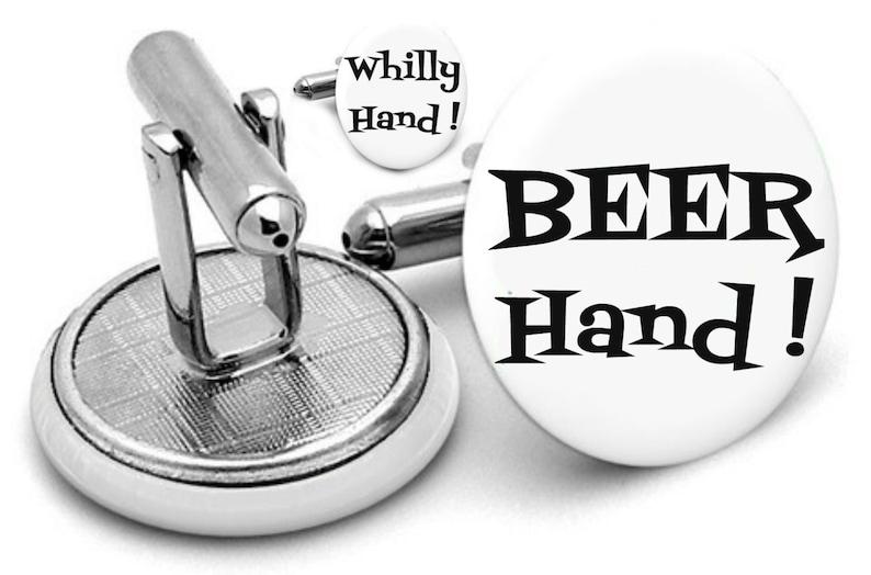 personalized cufflinks custom any text custom wedding cufflinks Beer hand  whilly   hand  cuff links groom gift