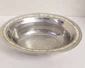 Heavy Silver Plate Serving Bowl with Mother of Pearl trim around the top