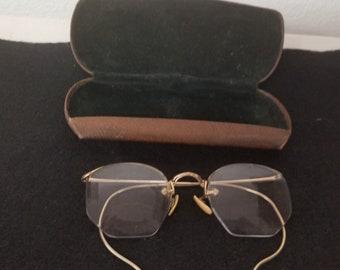 4e12b7991be Vintage Gold Rim Eyeglasses with original case