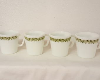 4 Vintage Pyrex mugs, pyrex cups, collectible pyrex, vintage pyrex, replacement pyrex, green flower pyrex, replacement pyrex, vtg kitchen