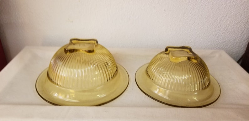 vintage kitchen ribbed bowl set Vintage Yellow Bowl Set footed bowls mixing bowls gold bowls 1950s bowls