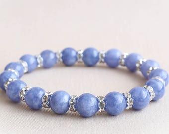 Angelite Bracelet Womens Beaded Bracelet Womens Angelite Bracelet Natural Stone Angelite Bracelet Blue Beaded Bracelet