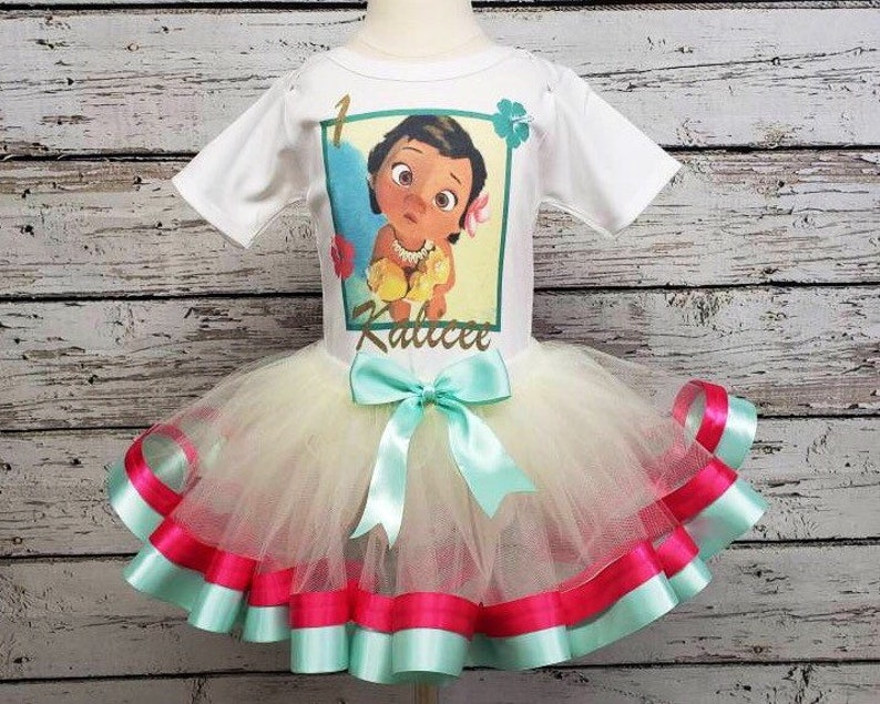 Baby Moana Birthday Tutu Set Outfit Your Child/'s Name and Age