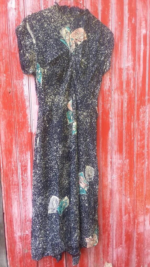 Vintage 1940s rayon blend handmade dress below the