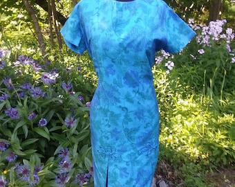 Vintage Silk Short Sleeve Dress with Blue Flowers from Thailand!