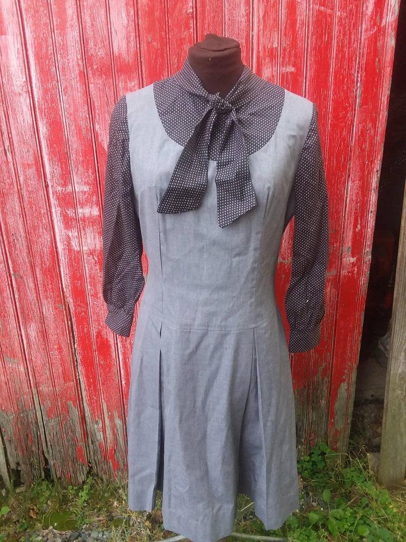 and Black and White polka dot dress knee length. Vintage 1960/'s Gray