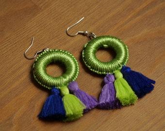 Moroccan earrings, pompom earrings, ethnic earrings, green earrings, gift for her, christmas gift, boho tassel jewelry