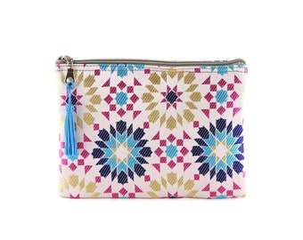 Moroccan pouches, white and blue, clutch bag, zip carry-all pouch, toiletry bag, geometric bag, bright zellige fabric, najmayal, blue Tassel