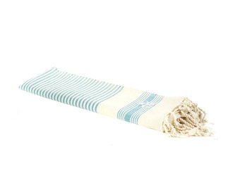 Turquoise blue cotton Fouta traditional Moroccan beach towel with embroidery