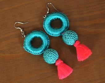 Moroccan earrings, pink pompom earrings, ethnic earrings, turquoise earrings, blue earrings, gift for her, christmas gift