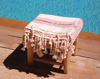 Red cotton Fouta traditional Moroccan beach towel with embroidery
