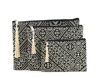 Three Moroccan pouches, clutch bag, cosmetic bag, toiletry bag, electronic pouch, gift for her, black embroidered fabric, white tassel
