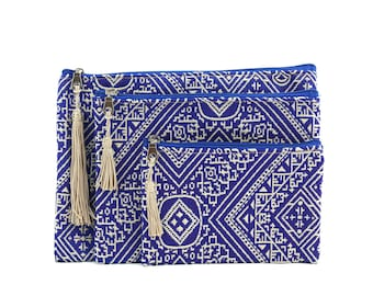 Three Moroccan pouches, blue clutch bags, cosmetic bag, toiletry bag, electronic pouch, gift for her, blue embroidered fabric, golden tassel