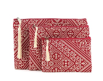 Three Moroccan pouches, red clutch bag, cosmetic bag, toiletry bag, electronic pouch, gift for her, red embroidered fabric, golden tassel