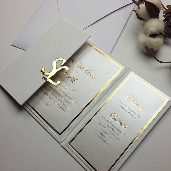 Initial Hard Cover Invitations White and Gold Hardcover   Etsy