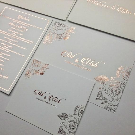 Rose Gold Wedding Invitation, Elegant Personalized Foil Invite, Rose Gold  Illustrator, Foil Envelope Printing, Holographic Design, Embossed
