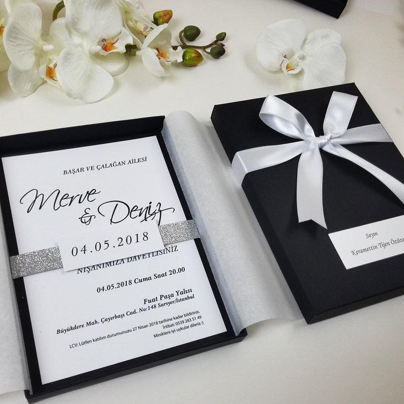 Unquie Wedding Invitations.Black Box Wedding Invitation Unique Wedding Invitations Luxury Wedding Invitations Silver Belly Band Invitations Silver Box White Ribbon