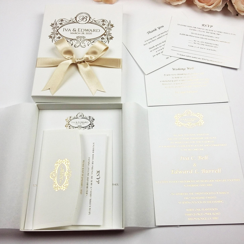 Lux Wedding Invitation Modern Invitation Ideas Luxus Boxed Etsy