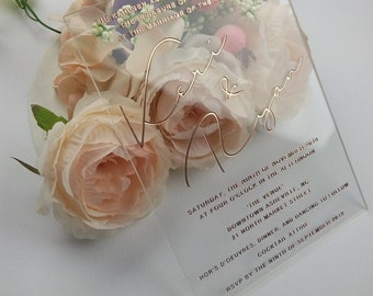 Clear Acrylic Wedding Invitation, Real Rose Gold Foil Printed, Custom Design Acrylic Plexi Invitation, Blush Foil Vellum Invitation, Script