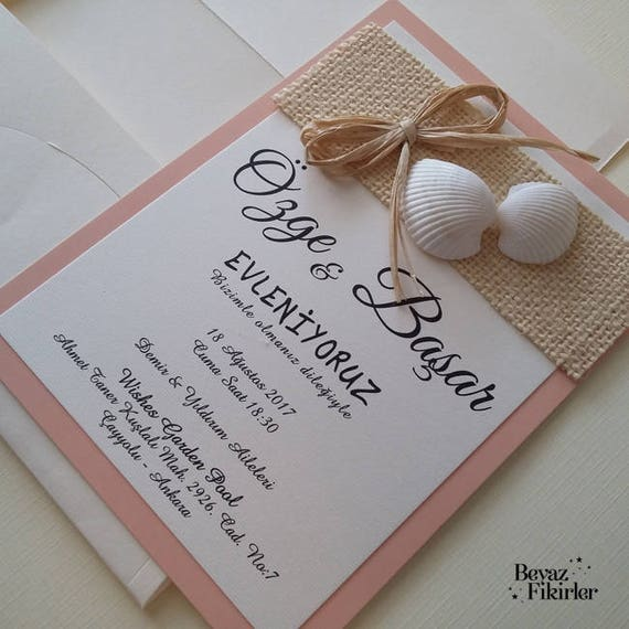 Beach Wedding Invitations Sea Shell Wedding Invitations Etsy