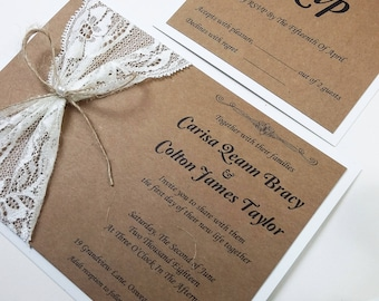 Lace Wedding Invitations, Rustic Lace Wedding Invitations, Country Style Invitations, Rustic Invitation, Wedding Invite Wording, 1 PIECE