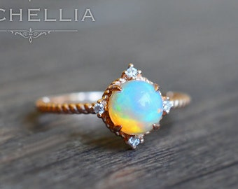 Aura of Galaxy Ring in Opal, Ethiopian Fire Opal Moon and Star Engagement Ring, Available in 14K Gold, 18K Gold, or Platinum, R3001