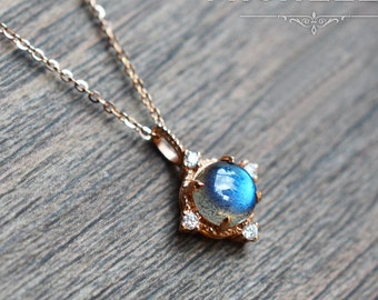 Aura of Galaxy Necklace in Labradorite, Labradorite Moon and Star Necklace, Available in 14K or 18K Solid Gold and Platinum, N3001