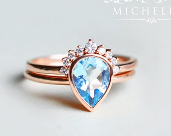 Classic Pear Bezel Ring in Aquamarine, Aquamarine Pear Engagement Ring Set, Available in 14K Gold, 18K Gold, or Platinum, R4003