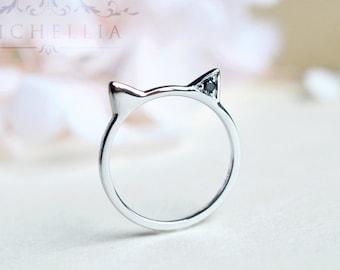 Black Diamond Kitty Ring, Cat Ear Engagement Ring, Available in 14K Gold, 18K Gold, or Platinum, B4008B