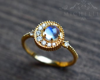 Crescent Moon Ring in Moonstone, Rainbow Moonstone Galaxy Engagement Ring Set, Available in 14K Gold, 18K Gold, or Platinum, R3003S