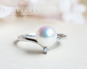 Moonrise Ring in Akoya Pearl, Saltwater Akoya Pearl Engagement Ring, Available in 14K Gold, 18K Gold, or Platinum, R3010