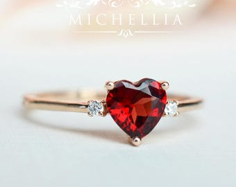 LAST ONE - Ready to Ship - Heart of the Sea Ring in Garnet, 14K Rose Gold and Size 6, R4006