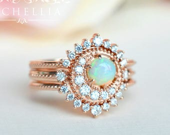 Crescent Moon Ring in Opal, Ethiopian Fire Opal Galaxy Engagement Ring Set, Available in 14K Gold, 18K Gold, or Platinum, R3003S