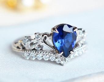 Vintage 18K Gold Blue Sapphire Eternity Anneau De Mariage Fête Femmes Hommes Bijoux