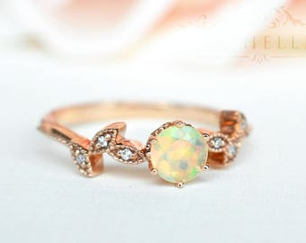 Petite Floral Ring in Opal, Ethiopian Fire Opal Leaf Engagement Ring, Available in 14K Gold, 18K Gold, or Platinum, R2002