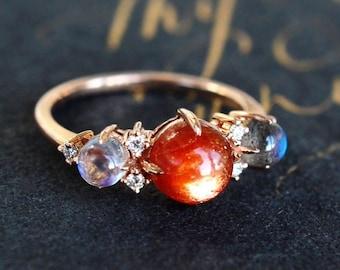 Celestine Galaxy Trio Ring in Sunstone, Moonstone, Labradorite, Three Stone Engagement Ring, Galaxy Interstellar Ring, Sun Moon Star Ring