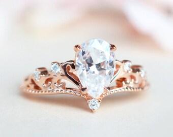 Veronica Moissanite Engagement Ring, Vintage Moissanite Ring, 1.5 ct Forever One Moissanite Ring, Bridal Set, 14K Gold, 18K Gold, Platinum
