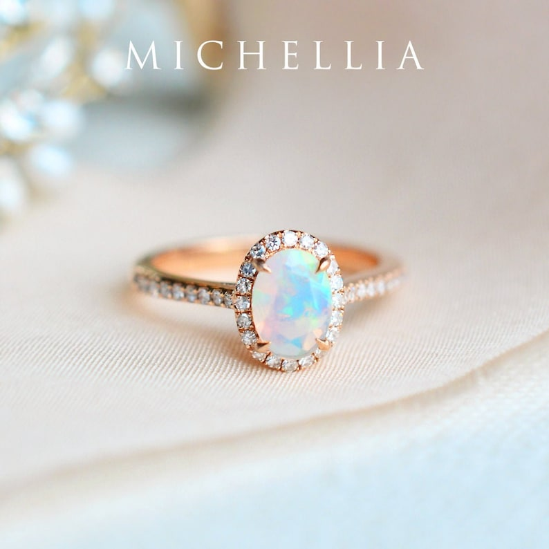 Lenora Opal Engagement Ring Oval Halo Diamond Opal Ring image 0