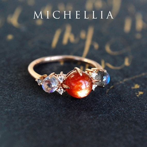 Sterling Silver Planet Moon and Sunstone Ring