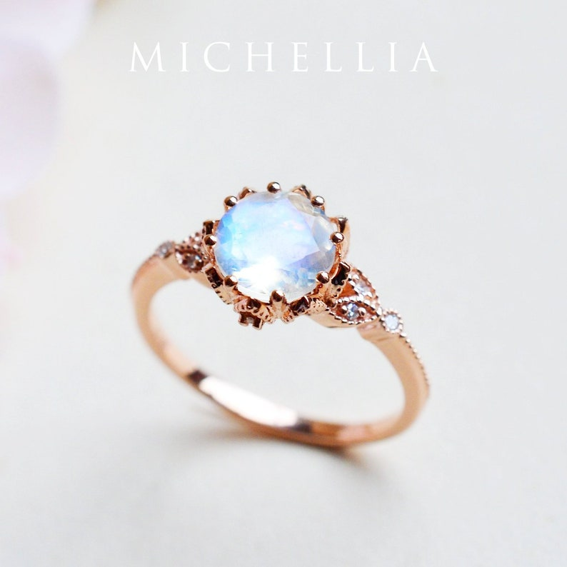 34b5acb849b Evanthe Moonstone Engagement Ring, Vintage Floral Ring in Rainbow  Moonstone, Rose Gold Floral Engagement Ring, 14K 18K Gold Platinum R2001
